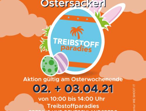 OSTER-AKTION: GRATIS AUTOWÄSCHE + TREIBSTOFFPARADIES-OSTERSACKERL